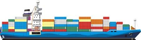 navy ship: buque de carga con contenedores Vectores