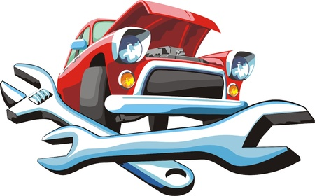 Car with open hood and wrenches