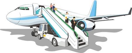 Mobiele laadbrug op een vliegtuig Stock Illustratie
