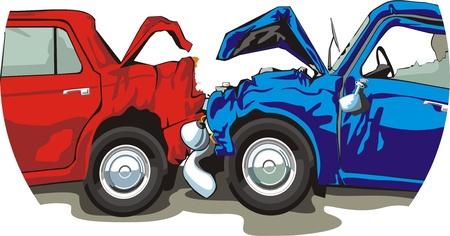 coche antiguo: veh�culo se estrell� con el frente y la espalda Vectores