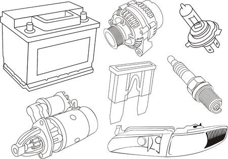 baterii: zestaw konturów części samochodowych