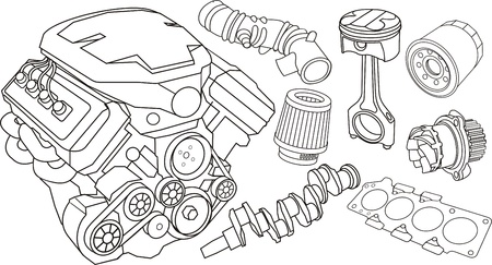 set of car part contours Stock Vector - 13764673