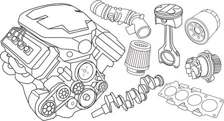 zestaw konturów części samochodowych