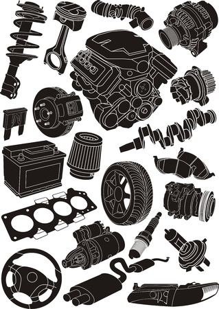 filters: set of car part contours Illustration