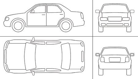 outline drawing: autovetture lati diversi KEYLINE Vettoriali