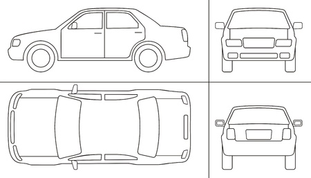 outline drawing: passenger car keyline  different sides