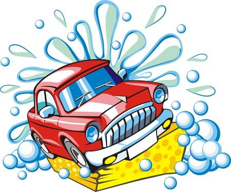 auto sign: de lavado de coches signo con una esponja