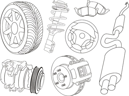 set of car part contours Ilustrace