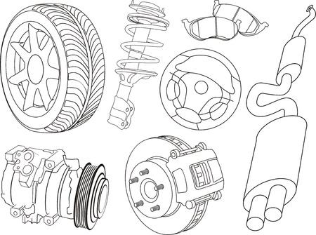 set of car part contours Stock Illustratie