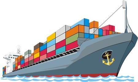 containerschip: vrachtschip met containers Stock Illustratie