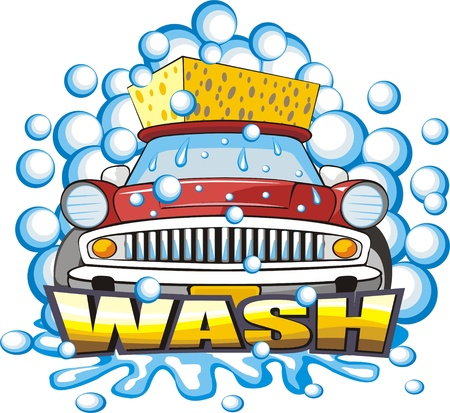 wash: car washing sign with sponge  Illustration
