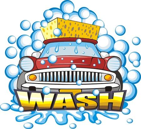 lavado: de lavado de coches signo con una esponja