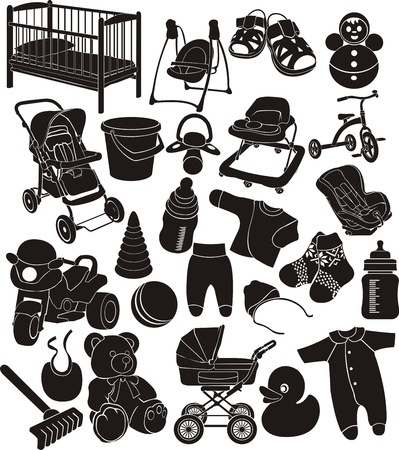 baby accesories silhouettes set Stock Vector - 13764683