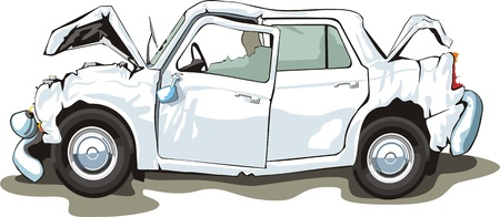 old door: car with crashed front and back Illustration