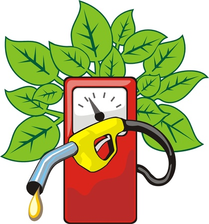 fuel pump: pump for fuel from which grow sheet Illustration