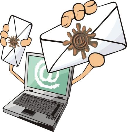 laptop witn letters Stock Vector - 13765897