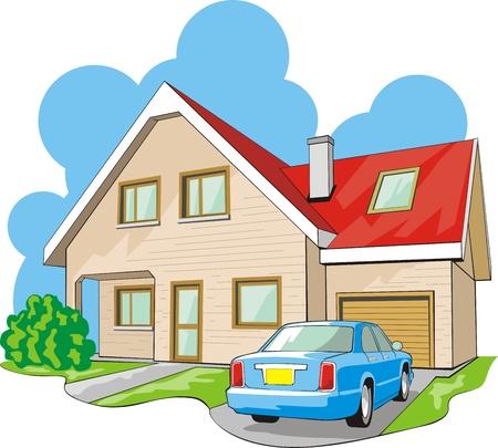 Woning met twee verdiepingen tellende huis met garage Stockfoto - 13765894