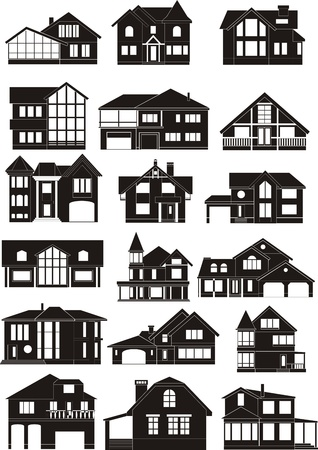 set of house silhouettes  イラスト・ベクター素材