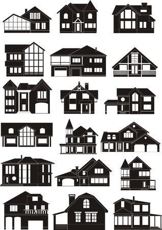 silhouette maison: ensemble de silhouettes maison