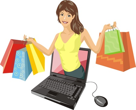 Girl makes buying by means of internet
