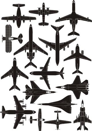 set van vliegtuig contouren