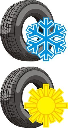 summer tires: signos de los neum�ticos de verano e invierno utilizar Vectores