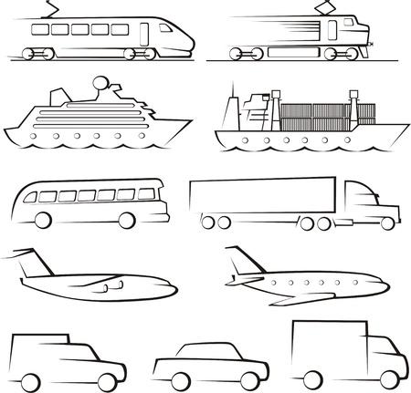 train icone: passagers contours ang de transport de marchandises