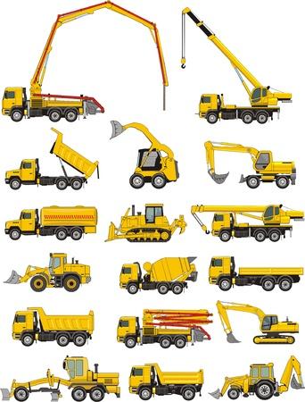 camion grua: un conjunto de máquinas de construcción Vectores