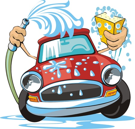 car clean: car washing sign with sponge and hose
