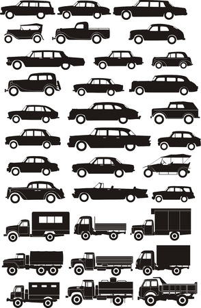 silhouettes cargo and passenger cars Vector