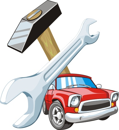 car fix: car on background of the wrench and gavel Illustration