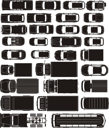 cargo and passenger cars overhand view silhouettes Vector