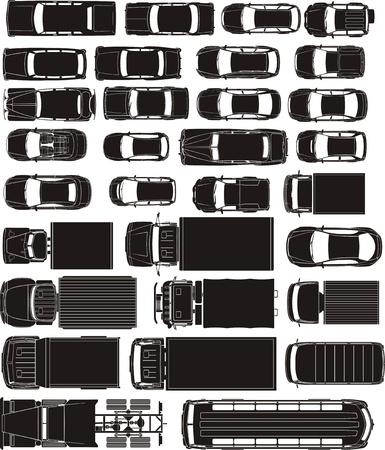 voitures fret et de passagers surplomber silhouettes vue