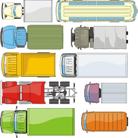 teherautók: rakomány autók overhand nézet sziluettek