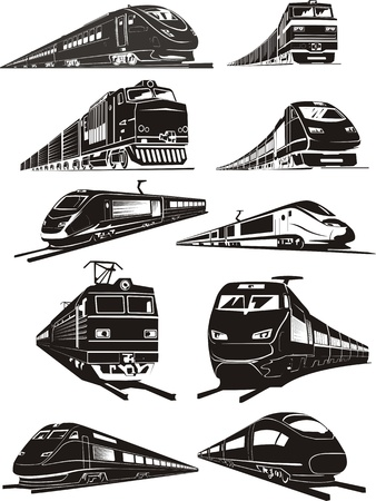 cargo and passenger train silhouettes  Ilustrace