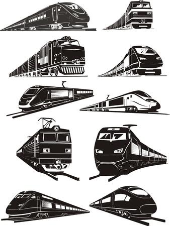 locomotora: de carga y las siluetas de trenes de pasajeros Vectores