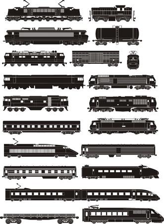 cargo and passenger train silhouettes  Illustration