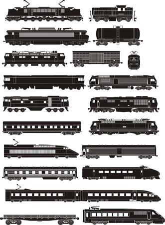 cargo and passenger train silhouettes  Stock Illustratie