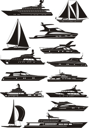 bateau voile: silhouettes des voiliers et bateaux à moteur Illustration