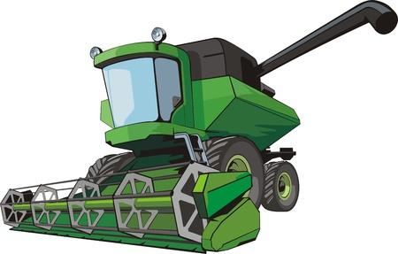 Old green harvesting agricultural combine Stock Illustratie