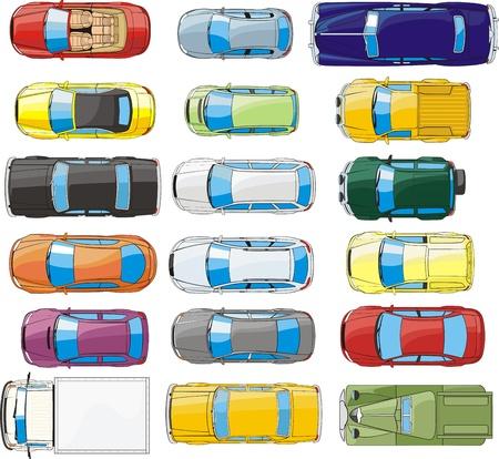 vista desde arriba: coches overhand siluetas vista Vectores