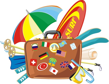 valise: tourist valise with different accessory for journey Illustration