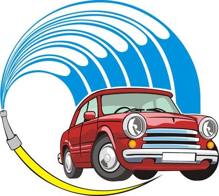 cleaning car: de lavado de coches con manguera de se�al