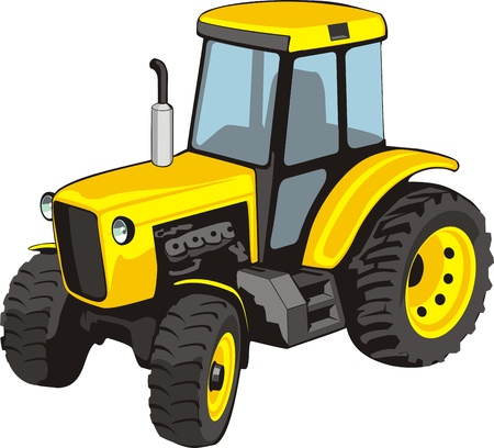 yellow tractor: Viejo tractor amarillo para trabajos agr�colas