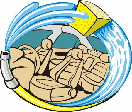 Car trim indoor washing sign Vector