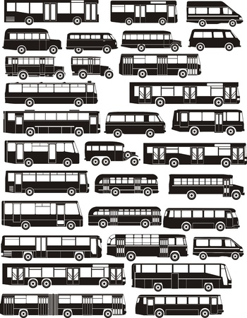 Set of many bus silhouettes