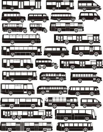 Set van een groot aantal bus-silhouetten