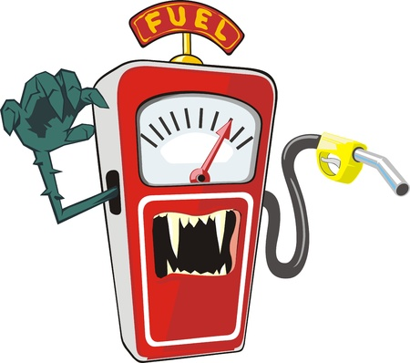 Cartoon scarry petrol pump Symbolizes the high prices for fuel Vector