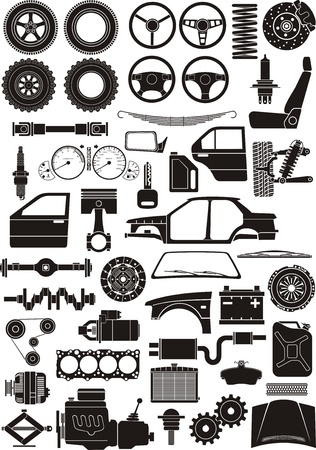 Set of car detail silhouettes