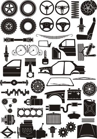 Juego de siluetas de detalle de automóviles